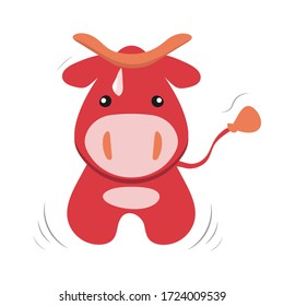 Funny cute cartoon vector stock illustration of red cow isolated on white background. Design for t-shirt, greeting cards, parties, posters, stickers, decor, cover and ets.