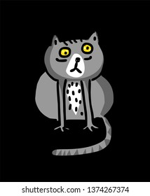 Funny cute cat in cartoon style. Vector illustration.
