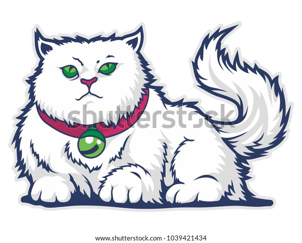funny cute cat vector mascot with white background