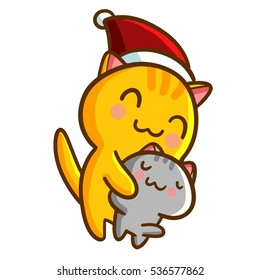 Funny and cute cats hug each other. Orange cat wearing santa's hat for christmas - vector.