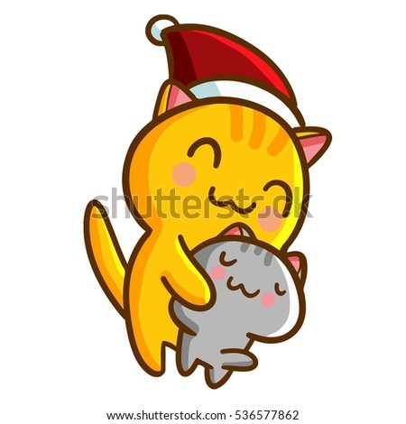 f7f5492c8fd Funny and cute cats hug each other. Orange cat wearing santa s hat for  christmas - vector. - Vector