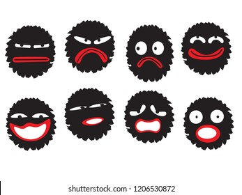 funny cute character of dust or virus or bacteria or disease emoticon