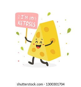 Funny cute cheese character with lettering, keto diet lover
