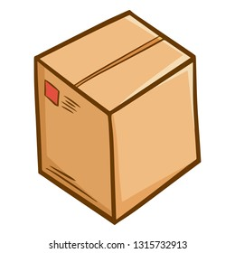 Funny and cute closed brown cardbox - vector