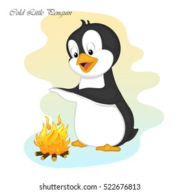 Funny and cute cold little penguinmake a fire. Merry Christmas and Happy New year card. Christmas card in cartoon style. Vector illustration