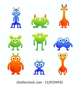 Funny cute colorful cartoon vector monster characters set for children isolated on white background.
