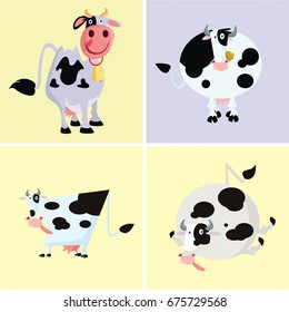funny cute cow dairy cows cartoon character