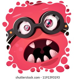 Funny, cute crazy monster character. Halloween illustration. For printing on T-shirts. Vector eps 10