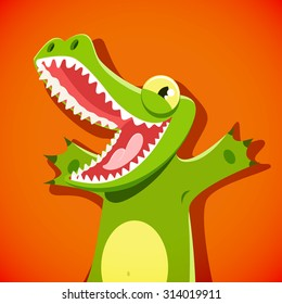 Funny cute crocodile with a smiley face vector illustration