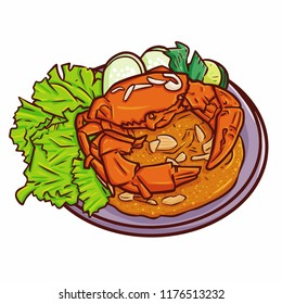 "Funny and cute delicious ""Kepiting Saus Tiram"", a traditional crab cuisine from Balikpapan, Indonesia - vector"