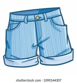 Funny and cute denim short pants - vector.