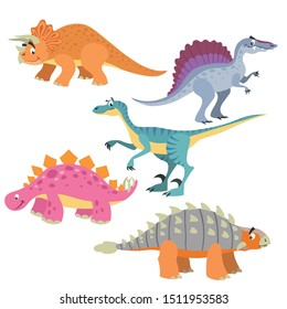 Funny cute dinosaurs set. Triceratops, Velociraptor, Ankylosaurus, Spinosaurus and Triceratops. Cartoon flat style. Vector illustrations.