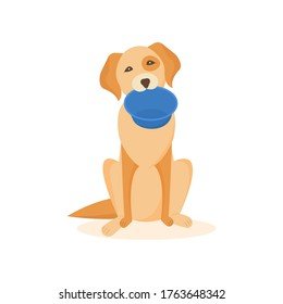 Funny cute dog character asks for food. Miserable hungry dogy with an empty bowl isolated. Cartoon flat design. Vector illustration.