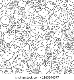 Funny cute doodles seamless pattern for your design project, wallpaper, textile fabric or wrapping paper.