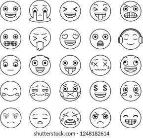 Funny cute emoticon outline set