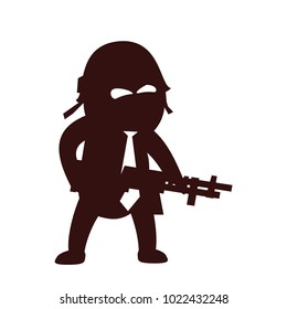 Funny and cute flat cartoon character -  soldier with rifle, wearing helmet and necktie, standing aggressively. Use for presentation, status, avatar or usericon