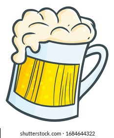 Funny and cute fresh beer in a big glass for party