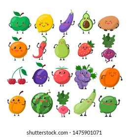Funny cute fruit and vegetable with the happy face. Apple, lemon, pear and orange. Cartoon character smile and have fun vector isolated.
