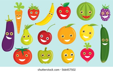 Funny and Cute Fruits and vegetables vector illustration set