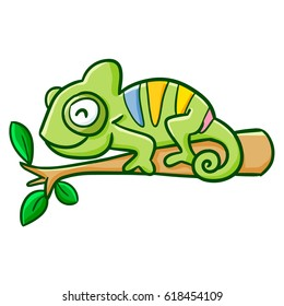 Funny and cute green chameleon smiling on a branch - vector.