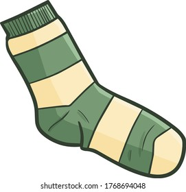 Funny and cute green light brown stripes socks