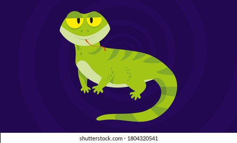 Funny and cute green lizard stuck out it's tongue - flat design. Cartoon reptile isolated vector illustration. Vector cartoon chameleon. African animal. funny lizzard. green lizard.