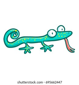 Funny and cute green lizard stuck out it's tongue - vector.