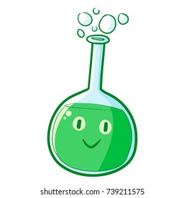 Funny and cute green test tube smiling happily - vector.