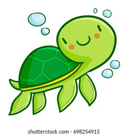 Funny and cute green turtle swimming around bubble - vector.