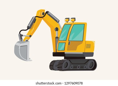 Funny cute hand drawn cartoon vehicles. Toy Car. Bright cartoon yellow Excavator, pecial Machines for the Building Work Toy Vehicles for Boys. Vector illustration.