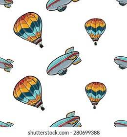 Funny cute hand drawn kids toy aeronautic transport. Baby bright cartoon balloon and airship vector seamless pattern on white background. Set of isolated elements. Chess grid order
