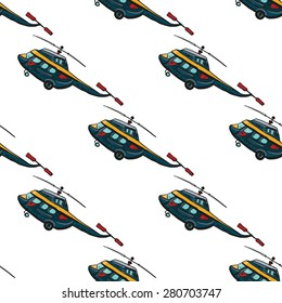 Funny cute hand drawn kids toy aeronautic transport. Baby bright cartoon chopper vector seamless pattern on white background. Set of isolated elements. Chess grid order
