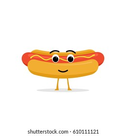 Funny and cute Hot-Dog character isolated on white background. Hot Dog with smiling human face vector illustration. Kids restaurant menu