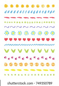 Funny cute line border set. Brush hand drawing doodle design element frame holiday birthday, greeting, invitation card, gift box, background, pattern decor. Pastel colorful vector ornament texture.