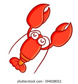 Funny and cute lobster smiling happily - vector.