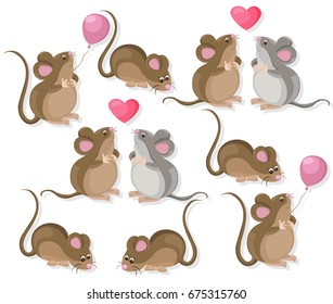 Funny cute mice couple characters in love. Cartoon Vector illustration