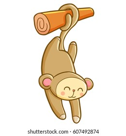 Funny and cute monkey hanging on a branch - vector.