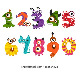Funny Cute Monster Numbers For Halloween Party Event Vector Color Numbers For Mathematics And Illustration