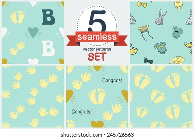 Funny cute new born welcome baby boy blue and white and yellow, foot and handprint, letter b, baby stuff, greeting card. Set of 5 vector seamless pattern. Chess grid order pattern.
