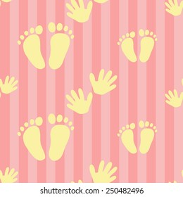 Funny cute new born welcome baby girl foot and handprint vector seamless pattern on striped pink background. Set of isolated elements. Chess grid order pattern.