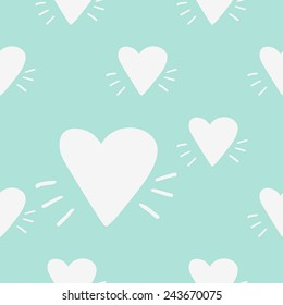 Funny cute new romantic heart vector seamless pattern on light blue background. Set of isolated elements. Chess grid order pattern.
