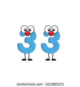 funny cute number 33 with eye in comic style. funny friends character concept. illustration for kids.cartoon style. isolated on white background