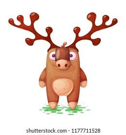 Funny, cute, paper deer characters Vector eps 10