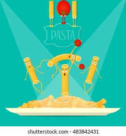 Funny, cute pasta on a plate vector. Funny pasta, food vector.