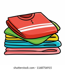 Funny and cute piles of colorful clothes - vector