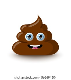 Funny and cute poop character placed on white background