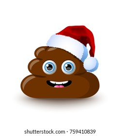 Funny and cute poop character with Santa hat placed on white background