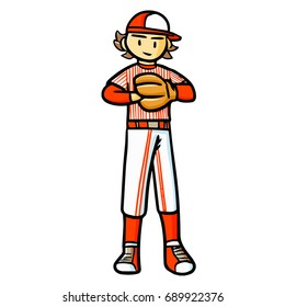 Funny and cute red baseball player standing - vector.
