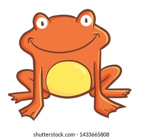 Funny and cute red orange frog facing at you
