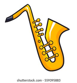 Funny and cute saxophone from side view in cartoon style - vector.